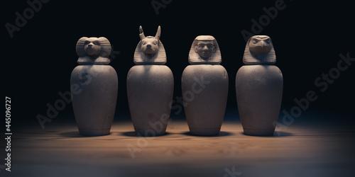 Billede på lærred canopic jars from Egypt,