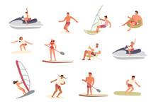 Men An Women Ride The Barreled Rushing Waves