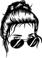 Girl With Messy Bun And Sunglasses