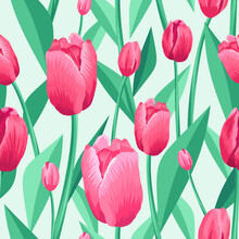 Tulip Seamless Pattern. Light Pale Green Background And Pink, Red Tulips With Green, Turquoise Leaves. Vector Illustration, Print, Textile, Pattern For Printing. Floral Pattern With Pink Flowers.