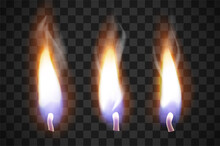 Realistic Flame Candles With The Effect Of Transparency