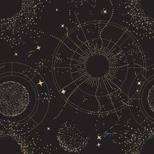 Galaxy Universe Mystic Background, Night Sky Design. Sacred Geometry Signs  . Constellation, Sun,  Moon Gold Celestial Seamless Pattern, Boho Print