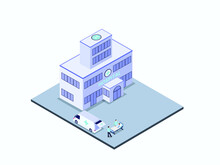 Emergency Room Isometric Vector Concept. Hospital Building With Medical Staff Move A Patient From Ambulance