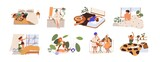 Set of happy people and their morning routine and habits. Sleepy man and woman waking up, stretching in bed, eating breakfast. Flat graphic vector illustration of wakeup isolated on white background