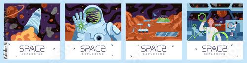 Fotografie, Tablou Space exploring posters set