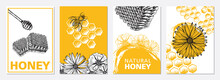 Honey And Bees Flyer Set, Hand Drawn Illustrations. Vector.