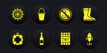 Set Lifebuoy, Fishing Boots, Bottle Of Vodka, Detonate Dynamite Bomb Stick, No Fishing, Bucket, Lure And Ship Steering Wheel Icon. Vector