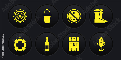 Fotografie, Obraz Set Lifebuoy, Fishing boots, Bottle of vodka, Detonate dynamite bomb stick, No fishing, bucket, lure and Ship steering wheel icon