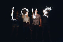 Sparklers Forming The Word Love