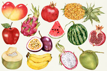 Hand Drawn Tropical Fruits Patterned Background Illustration