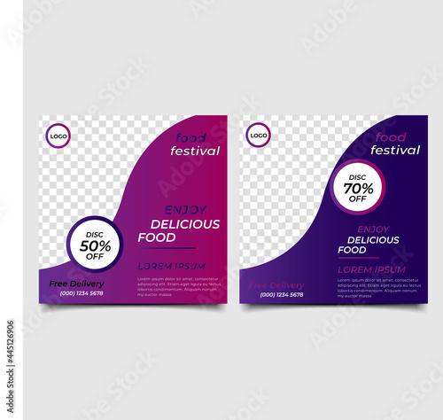modern food sale social media banner post template design Fototapeta