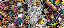 Desserts Hand Drawn Doodle Banner. Cartoon Vector Detailed Flyer. Illustration With Sweets Objects And Symbols. Colorful Horizontal Background