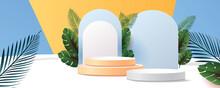 3d Geometric Podium Mockup Leaf Tropical Netural Concept For Showcase Green Background Abstract Minimal Scene Product Presentation Vector Illustation