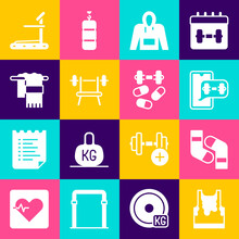 Set Sweaty Sleeveless T-shirt, Socks, Fitness App, Hoodie, Bench With Barbell, Towel On Hanger, Treadmill Machine And Sports Doping Dumbbell Icon. Vector