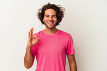 Young Caucasian Man Isolated On White Background Cheerful And Confident Showing Ok Gesture.