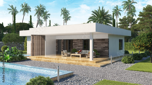 Fotografiet Modern villa with swimming pool