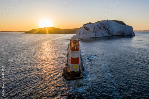Obraz na plátně The Needles Isle of Wight with The Needles Lighthouse taken from the air at dawn with a still sea and crisp light