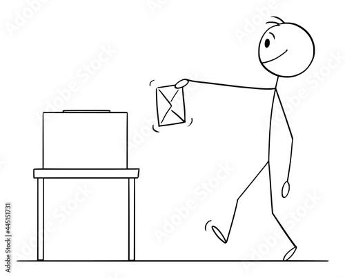 Fotografia, Obraz Person Holding Envelope, Ballot Vote or Election, Vector Cartoon Stick Figure Il