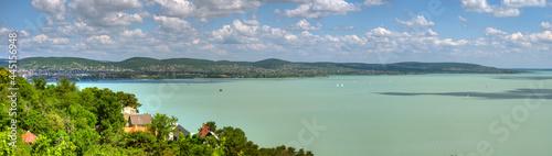 Stampa su Tela Der Plattensee in Ungarn aus der Luft