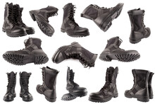 Set Of New Black Lightweight Military Boots Isolated On White Background, In Different Views