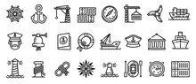 Marine Port Icons Set. Outline Set Of Marine Port Vector Icons For Web Design Isolated On White Background