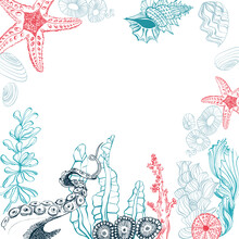 Beautiful Design With Blue Sea bottom Frame. Vector Illustration Template. Composition With Oysters, Octopus, Sea Shells, Mussels, Anemones And Algae.