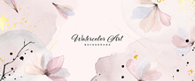Abstract Background Watercolor Gentle Pink Flower And Gold Splash