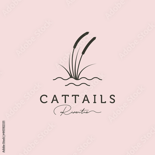 reed or cattail minimal logo vector illustration design with water symbol Fototapete