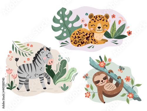 Fototapeta premium Jungle cute cartoon hand drawn animal characters collection. Sloth, jaguar, zebra. Fabric shirt surface design. Set of flat cartoon vector illustrations isolated on white