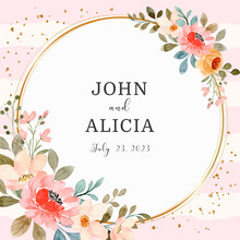 Save The Date. Watercolor Pink Flower Wreath With Golden Circle