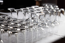 Empty Glasses Waiting To Be Filled With Drinks, Cups And Wine Glasses