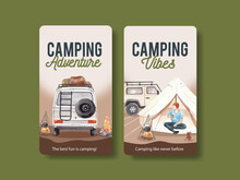 Instagram Template With Happy Camper Concept,watercolor Style