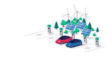 Electric Car Charging On Parking Lot Area With Fast Supercharger Station And Many Charger Stalls. Vehicle On Renewable Solar Panel Wind Power Station Electricity Network Grid. Flat Vector Illustration