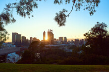Perth City Sunrise Framed By Trees In King's Park.