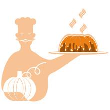 Chef With Pumpkin Pie Kitchen Man With Mustache Man Orange Profession Food