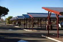 Carpark With Shade And Rooftop Solar Panel Installation