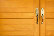 Stainless Door Knob Or Handle On Wooden Door