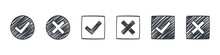 Check Marks. Drawn Icons Of Check Marks. Checkbox Icons And Sketch Check Marks Signs. Vector Illustration