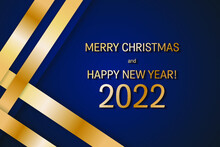 Merry Christmas And Happy New Year 2022 Dark Blue Gold Poster, Banner Or Greeting Card Vector Graphic Design. Holiday 2022 Business Style X-mas And New Year Greeting Card Template.