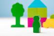 Leinwandbild Motiv Wooden toy building kit details on blue background
