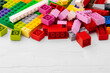 Leinwandbild Motiv Toy building kit details on wooden background