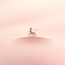 Girl In Wheelchair. Human In Paradise. Death, Afterlife. Foggy Clouds