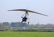 Ultralight Airplane Taking Off From A Grass Airfield