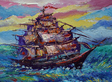 Art Painting Oil Color Sailboat