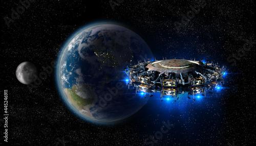 Fotografie, Obraz Alien spaceship Earth invasion