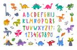 Fototapeta Dinusie - Funny Dinosaurs Prehistoric Creature and Comic Dino Alphabet Letters Vector Set