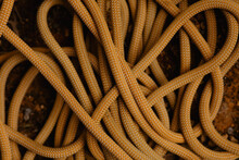 Rope Tangles In Knots At The Bottom Of A Climbing Wall