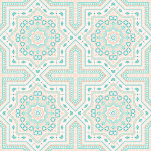 Elegant Italian Maiolica Tile Seamless Ornament. Geometric Texture Vector Patchwork. Clothes Print Design. Classic Italian Mayolica Tilework Iterative Pattern. Geometric Shapes Wallpaper.