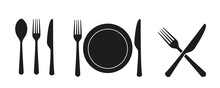 Spoon, Knife, Fork Silhouettes Icons, Dining Flat Icon With Plate