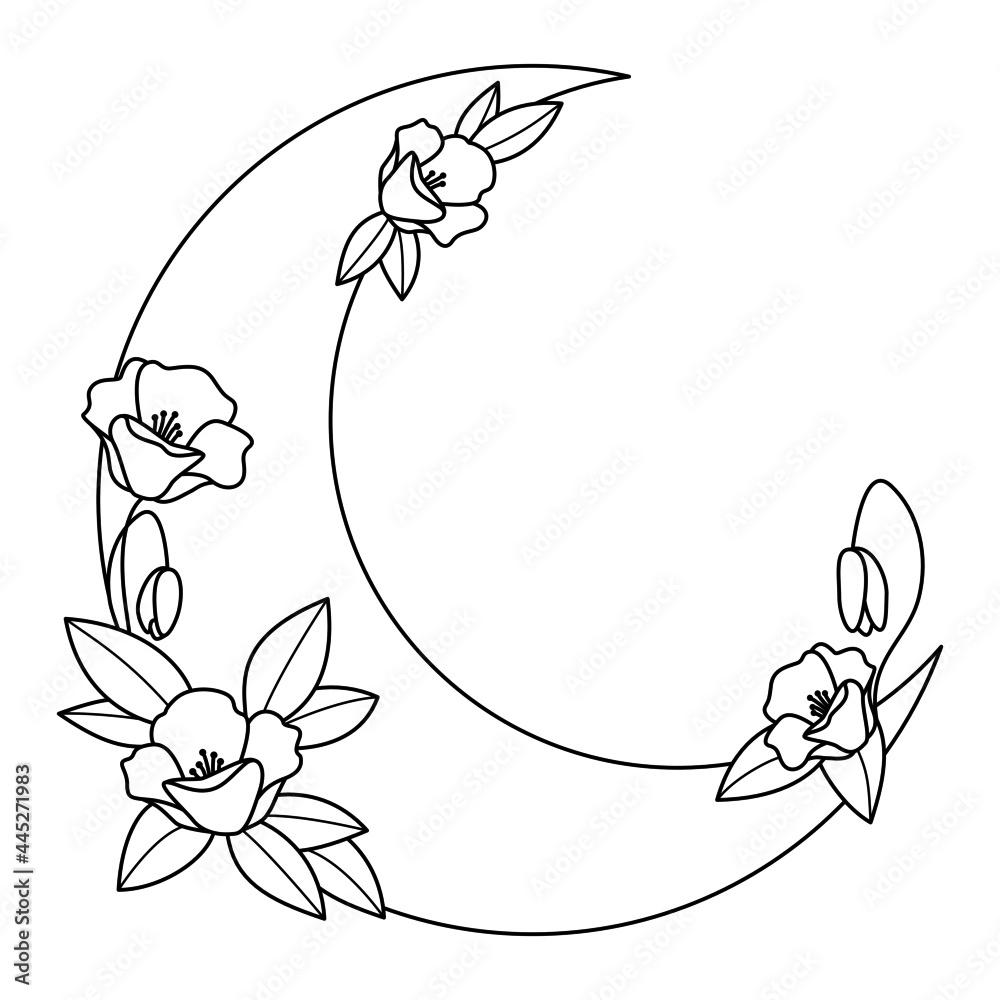 Obraz Półksiężyc i kwiaty - dekoracyjna boho ilustracja z miejscem na Twój tekst do wykorzystania jako logo, tatuaż, zaproszenie ślubne, kartka z życzeniami, naklejka. fototapeta, plakat